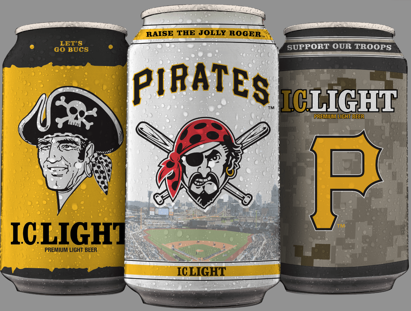 New I.C. Light Pittsburgh Pirates Collector Cans